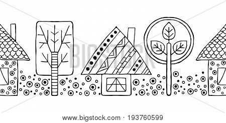 Vector Hand Drawn Seamless Pattern, Decorative Stylized Black And White Childish Houses, Trees. Dood