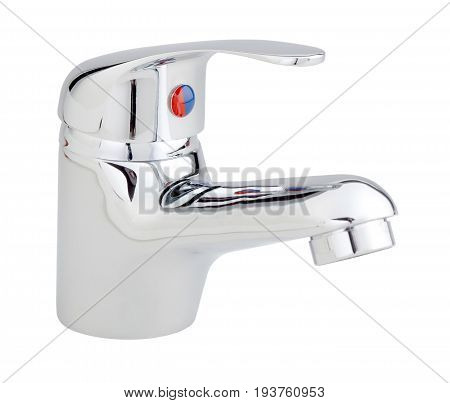 Chromed Metal Basin Mixer For Water Isolated On White