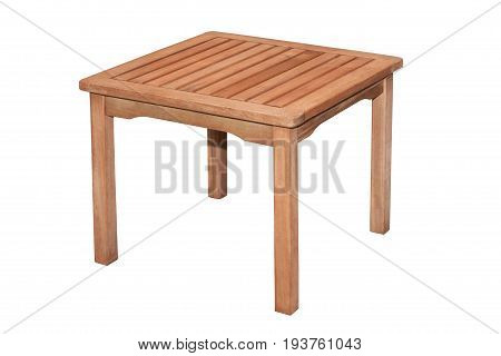 Small аuxiliary Wooden Table On White Background With Clipping Path