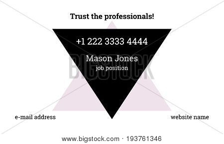 Trendy business card template with slogan. White background. Fashionable inverted triangle. Black, pink and white colors. US standard size 3.5x2 in. Withe bleed size 0.125 in. Vector. Minimal style.