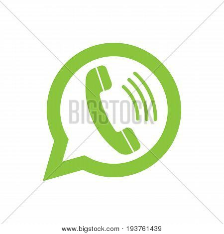 Phone handset in speech bubble. Messenger icon isolated on background. Vector illustration. Eps 10.