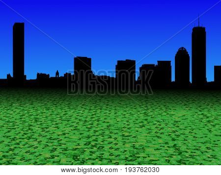 Boston skyline with abstract dollar currency foreground 3d illustration