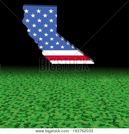 California map flag with abstract dollar foreground 3d illustration