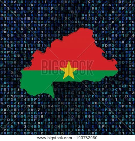 Burkina Faso map flag on hex code 3d illustration