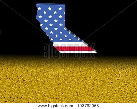California map flag with dollar coins foreground 3d illustration
