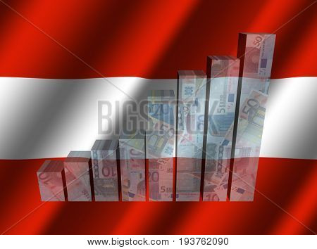 Currency graph on rippled Austrian flag 3d illustration