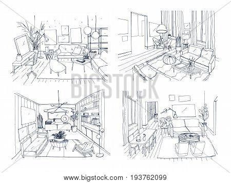 Modern living room interior set. Furnished drawing room collection. Contour vector illustration sketch on light background
