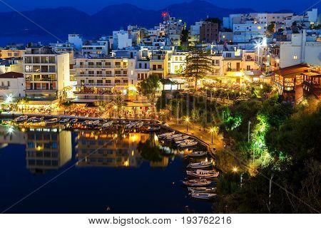 Agios Nikolaos City and Voulismeni Lake at Night Crete