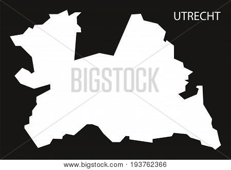 Utrecht Netherlands Map Black Inverted Silhouette Illustration