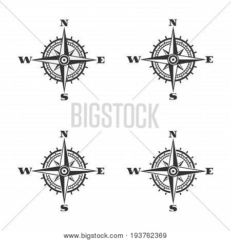 Compass icon. Black wind rose icon isolated on white background. Vector illustration. Eps 10.