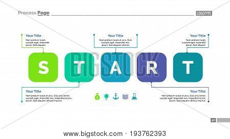 Five steps process chart. Business data. Start, diagram, design. Creative concept for infographic, templates, presentation, report. Can be used for topics like marketing, training, management.