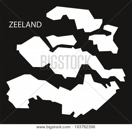 Zeeland Netherlands Map Black Inverted Silhouette Illustration