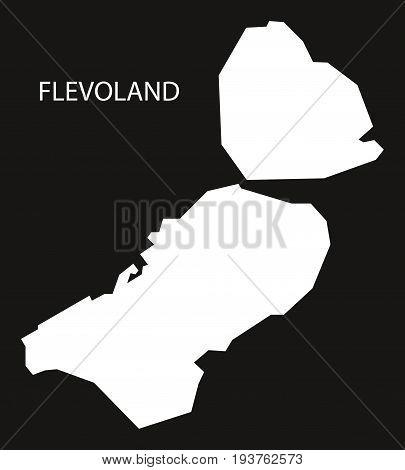 Flevoland Netherlands Map Black Inverted Silhouette Illustration