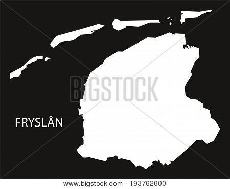 Fryslan Netherlands Map Black Inverted Silhouette Illustration