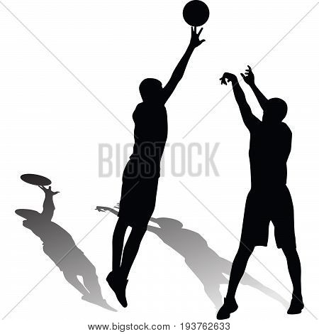 two man play basketball silhouette vector with shadow