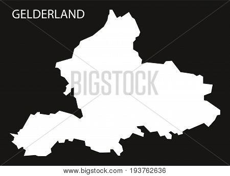 Gelderland Netherlands Map Black Inverted Silhouette Illustration