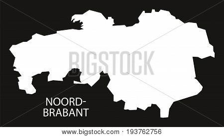 Noord Brabant Netherlands Map Black Inverted Silhouette Illustration