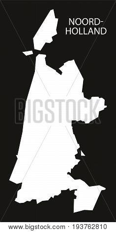 Noord Holland Netherlands Map Black Inverted Silhouette Illustration