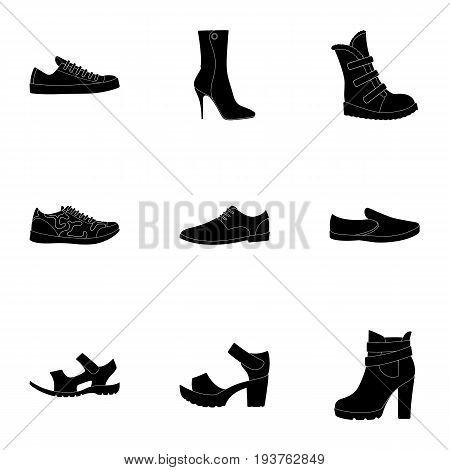A set of icons on a variety of shoes.Different shoes single icon in black style vector symbol stock web illustration.