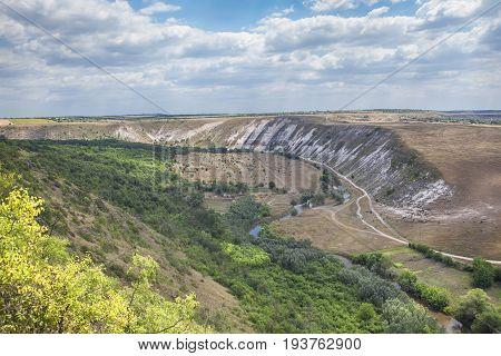 Moldavian landscape with river Raut near touristic village Trebujeni
