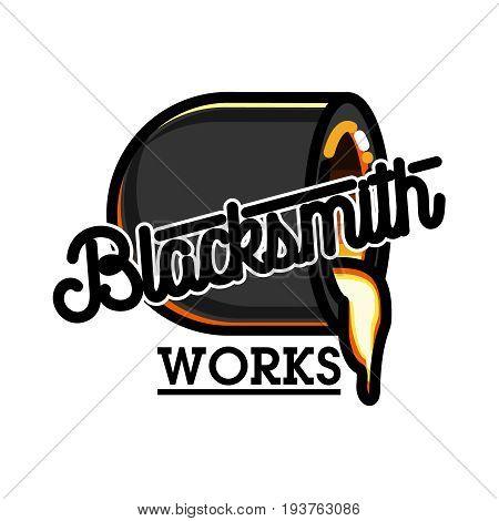 Color vintage blacksmith emblem. Vector illustration, EPS 10