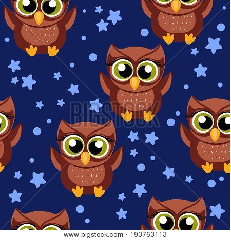 Beautiful seamless pattern with cute owls. Vector illustration. Seamless background can be used in textiles, polygraph and web design for children s themes