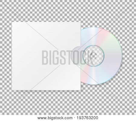 Realistic cd with cover. Close up of a cd dvd disc.Blank compact disk with cover mock up template isolated on transparent background. Vector illustration. Eps 10.