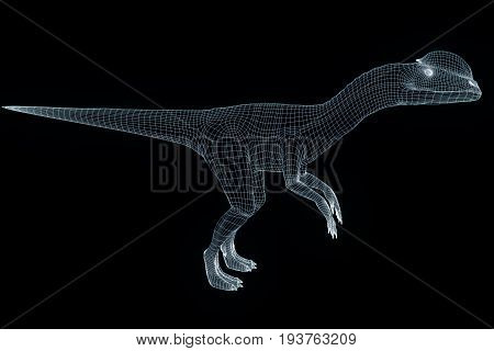 Dinosaur Dilophosaurus in Hologram Wireframe Style. Nice 3D Rendering