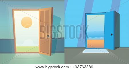 Open door vector collection. set of four cute doors. Dreams comes true. Cartoon exit and summer isoalted illustration