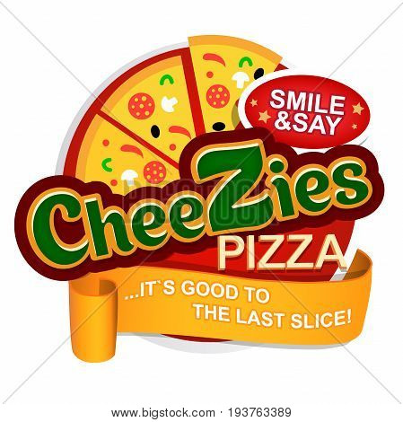 Cheese Pizza logo. Label for menu design restaurant or pizzeria. Vector icon