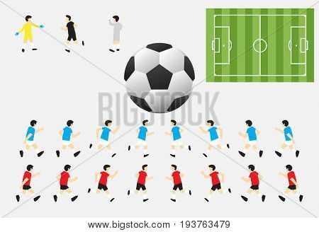 Soccer Characters Including Red & Blue Players Referee Goalkeepers Green Field And Football Suitable For Role Play Game Competition Or Planning