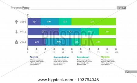 Three periods percentage chart. Business data. Graph, diagram, design. Concept for infographic, presentation, report. Can be used for topics like analysis, statistics, research.