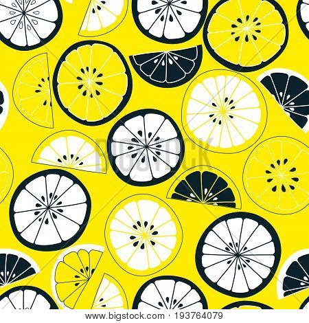 Seamless citrus pattern. Fruit vector background. Colorful background with lemon and orange. Natural and healthy food. Fresh juice.