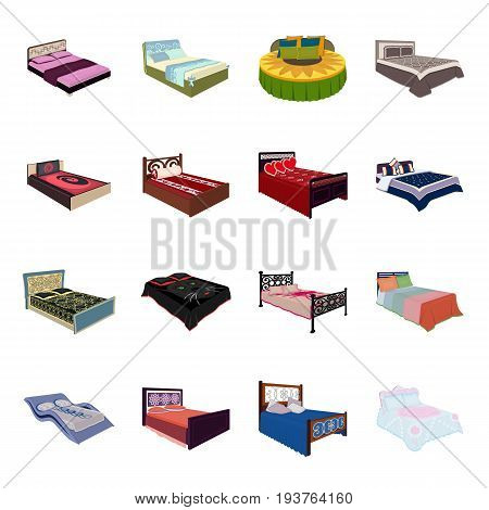 A bed with a back, round, curved and other kinds of the goods. Beds set collection icons in cartoon style vector symbol stock illustration .