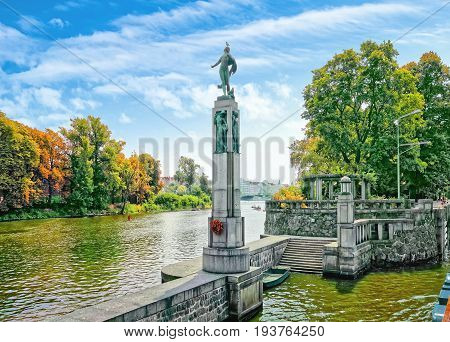 Prague-smichov, The Czech Republic. Allegorical Statue Of The Vltava At The Canal Lock