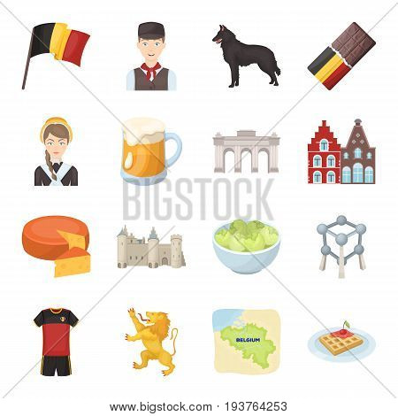Flag, Brussels, chocolate, cheese, stained glass, lion, and other symbols. Belgium set collection icons in cartoon style vector symbol stock illustration .