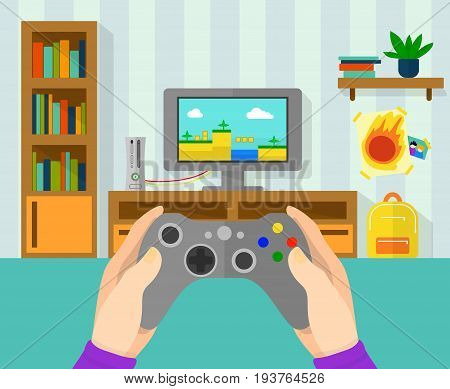 Interior of gamer room. Illustration of game controller in hands. Boy playing at video game on console. Vector gamer gaming in game in cartoon style