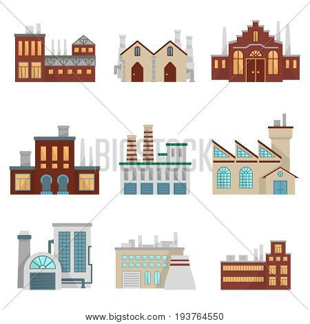 Factory illustrations set. Modern industrial buildings set isolate on white. Factory building industrial, power refinery manufactory