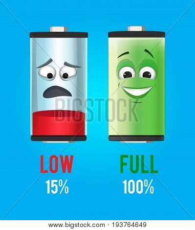 Concept illustration. Batteries characters with full and low charge. Vector mascot design. Power electricity battery low and full indicator
