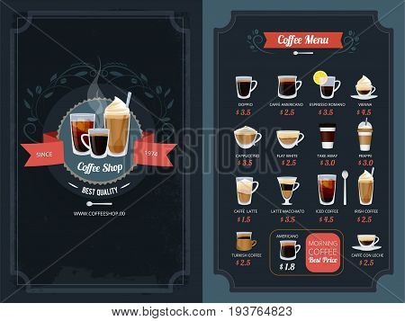 Coffee menu with different types. Cappuccino, macchiato, latte and others. Cappuccino and latte, coffee cup espresso and americano. Vector illustration