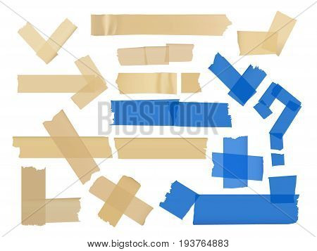 Vector set of different fragments at adhesive tapes isolated on white. Adhesive strip tape, ripped paper sticky illustration