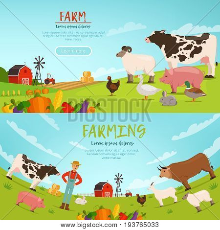 Agribusiness vector illustrations. Horizontal banners with farm landscape with house, transport and domestic animals. Farm landscape house and rural nature with domestic animal
