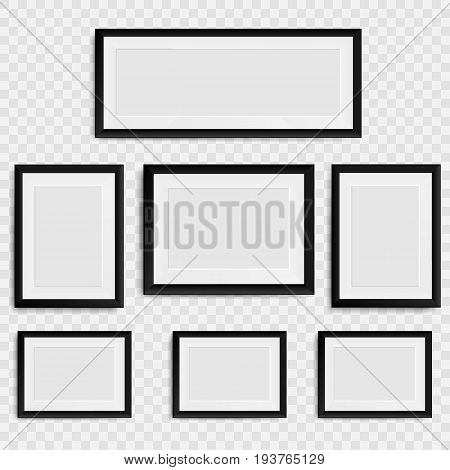 Set of blank photo frame on the wall. Collection realistic blank picture frame. isolated on transparent background. Vector illustration. Eps 10.