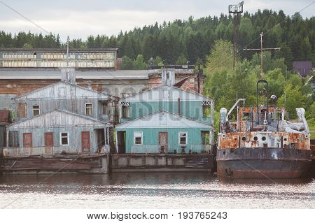 Old Pontoon House On River, Landing Stage