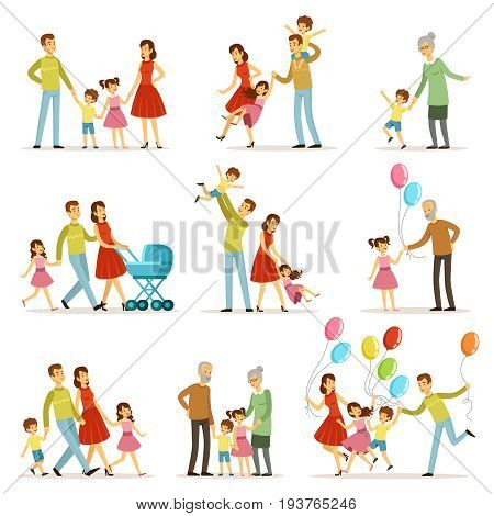 Big happy family with mother, father, grandmother and grandfather. Two smiling kids. Vector characters together happy family illustration