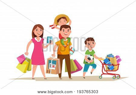 Happy family walking with shopping bag in in hands and doing shopping isolated. Father mother and child purchase cartoon style.