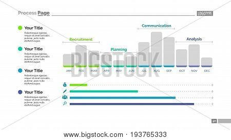 Bar chart slide template. Business data. Graph, diagram, design. Creative concept for infographic, templates, presentation, report. Can be used for topics like analysis, statistics, finance.