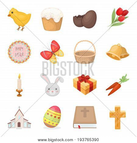 Easter cake, egg, chicken, rabbit, butterfly and other attributes. Easter set collection icons in cartoon style vector symbol stock illustration .