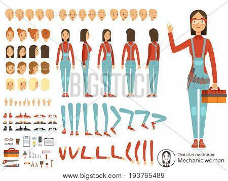 Big creation kit of girl mechanic in working clothes. Vector constructor with body parts. Character woman mechanic cartoon illustration