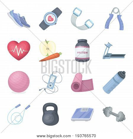Jump rope, ball, scales other items for health.Gym And Workout set collection icons in cartoon style vector symbol stock illustration.